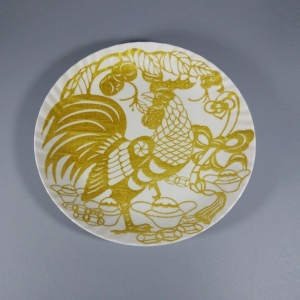 China Promotion Cock Design Gold Glitter Powder Melamine Round Dish Dinner Plate on sale