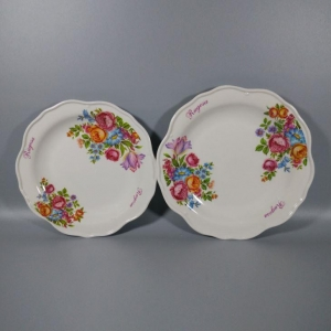 China Better Homes And Gardens Scalloped Edge Melamine Salad Dish Plates on sale
