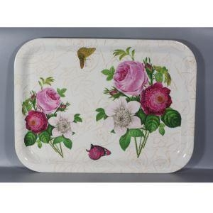 China Beautiful Nature Flower Melamine Rectangular Sandwich Serving Tray on sale