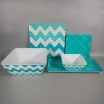 5pcs Square Melamina Melamine Dinnerware Dinner Set