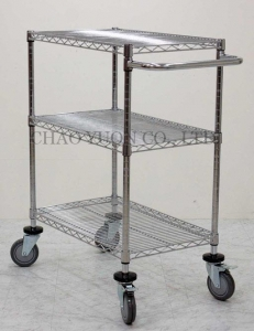 China Durable 3 Layer Adjustable Steel Wire Metal Shelving hand mobile trolley on sale