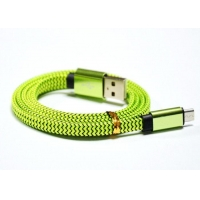 Glossy Fabric Fast Charging Cable Supports USB 2.0 / High Speed / Green