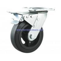 Rubber on Iron Swivel Caster W/ Total Lock Brake