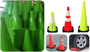 China Traffic Cone 30cm Flexible PVC Road Cone with Black Base on sale