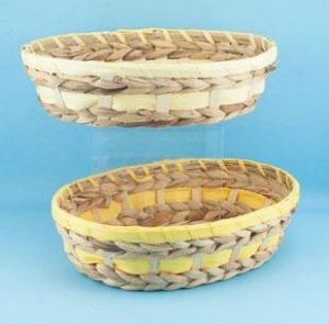 China 61-131 Oval wood & seagrass w/yellow trim on sale