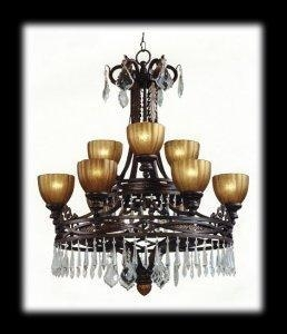 China Chandeliers 2 Tier 9 light Crystal Wrought Iron Chandelier Espresso Finish on sale