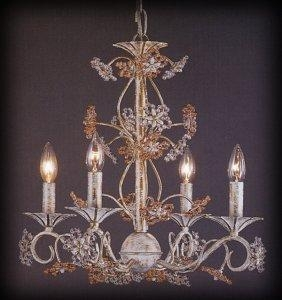 China Chandeliers Rosa/Clear Bead Flower 4 Light Chandelier Antique White Finish on sale
