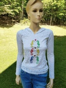 China Troo Seahorse Love White Burnout L/S Hoodie Tween Tee Shirt on sale