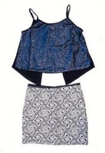 China Elisa B 2pc Special Occasion Navy Sequin Top & Brocade Mini Skirt Tween 16 on sale