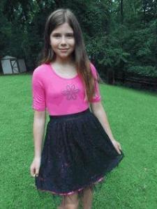 China Lipstik Girls Magenta & Black Lace Overlay Girls Dress on sale