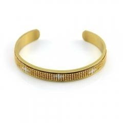 China Miyuki Cuff Bracelets Metal Cuff Bracelet Stainless Steel Gold Plated on sale
