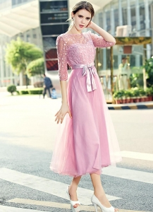 China Pink Round Neck High Waist Half Sleeve Lace Dress on sale