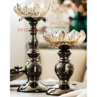 Large Iron and Lotus shape Glass Votive Candle Holder