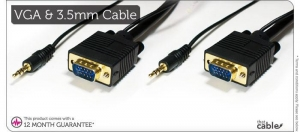China 5m PC/Laptop to TV Cable - VGA/SVGA 15 Pin & Integral 3.5mm Stereo Male/Plug on sale