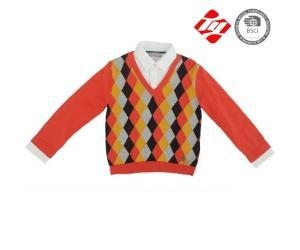 China Boy diamond pattern intarsia knitted sweater with neckband on sale