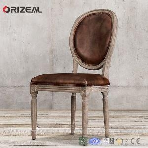 China Orizeal Oak Frame Genuine Leather Upholstered Dining Chair on sale