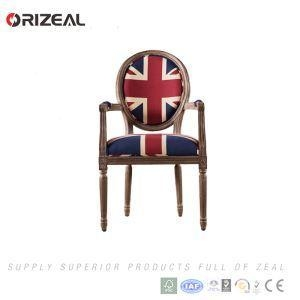 China Orizeal French Style Vintage Leather Wood Armchair For Living Room Furniture on sale