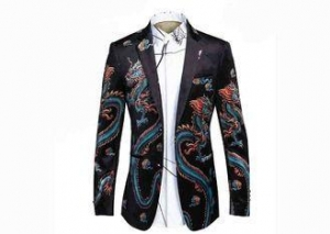 China Dragon Pattern Mens Printed Suits , Slim Fit Floral Suit JacketCasual Style on sale