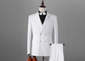 China Slim Fit Mens Tuxedo Suits , Double Breasted Mens Dinner Suits White Side Vents on sale