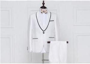 China Shawl Lapel White Mens Tuxedo Suits Black Trim Slim Fit Type For Wedding on sale