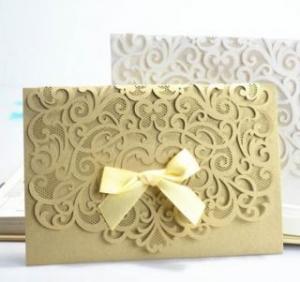 China Pocket laser cut invitation cards on sale