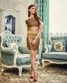 China Gold Stamp Patchwork Noble and Elegant Slash Neck Off the Shoulder Mini Evening Party Dress on sale