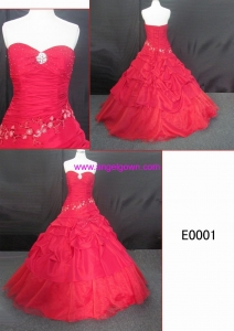 China 2016 Wedding Dress E0001 gorgerous latest red ball gown ruffle hot sell sleeveless wedding dress on sale