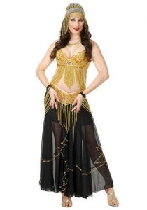 China Golden Sexy Belly Dancer Costume on sale