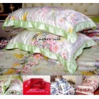 2pc 19 Momme 100% Silk Printed Pillow Case Oxford Style With Borders
