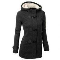 Monogram Women Wool Blends Hooded Horn Button Winter Coat