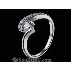 China Stainless Steel Swirl Round-cut Hearts and Arrows CZ Engagement Ring with 18K White Gold Plated on sale