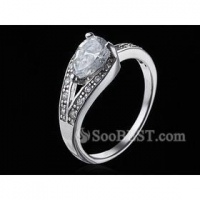 China Sterling Silver Pear-Cut Hearts and Arrows Synthetic Diamond Ring on sale