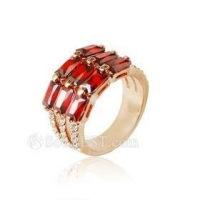 Trendy Gold Plated Red Austrian Crystal Ring Costume Jewelry