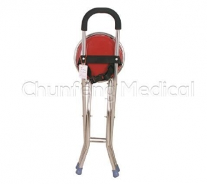 China Elderly And Disabled Folding Crutch Stool Telescope Chair Seat on sale