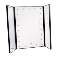 China Tri-fold desktop LED lighted cosmetic mirror on sale