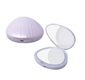China Sea Shell Shaped Lighted cosmetic mirror with double sides / compact mirrors on sale