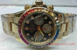 China Rolex Watches Fake Rolex Rainbow Daytona All Gold Chronograph Mens Watch on sale