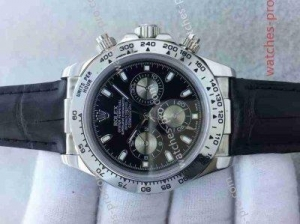 China Rolex Watches Fake Rolex Daytona Watch SS Black Dial Black Leather Watch Band on sale