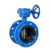 Gear operated large diameter butterfly valve flanged