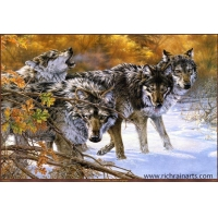 China Wolf Oil Painting on sale