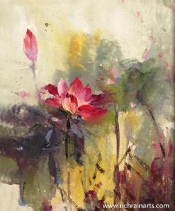 China Rain Flowers Oil Painting on sale