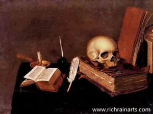 China Skull on Table Still Life Oil Painting on sale