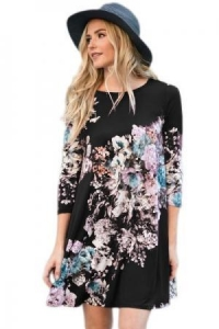 China Dark Floral Long Sleeve A-Line Tunic Dress Item NO: LC220099-102 on sale