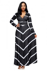 China Black Striped V Neck Long Sleeve Maxi Dress Item NO: LC61717-2 on sale