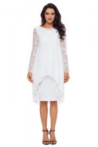 China White Lace Long Sleeve Double Layer Midi Dress Item NO: LC61864-1 on sale