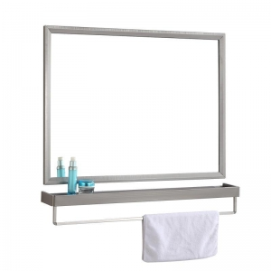 China 304 stainless steel bathroom mirror with glass shelf on sale