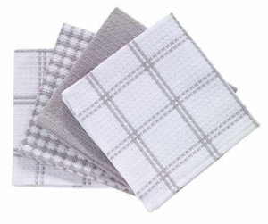 China T-Fal Textiles 100% Cotton Waffle Weave Kitchen Dish Cloths, 12 x13, Set of 4 Designs, Gray on sale