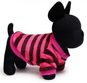 China Dog Clothes Pink & Brown Striped Dog Fleece Jumper on sale