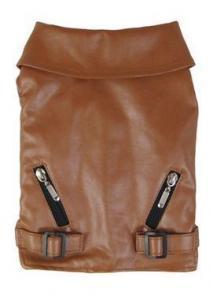 China Dog Clothes Brown Leather Dog Vest Coat on sale