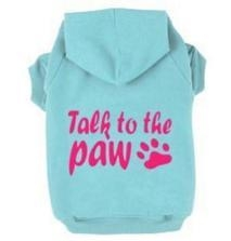 China Dog Clothes Blue Talk To The Paw Dog Hoodie on sale